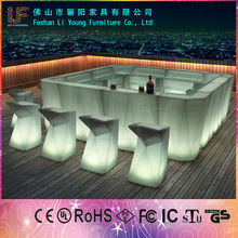 commercial furniture 16 colors remote contral white PE plastic high square table illuminated led bar counter