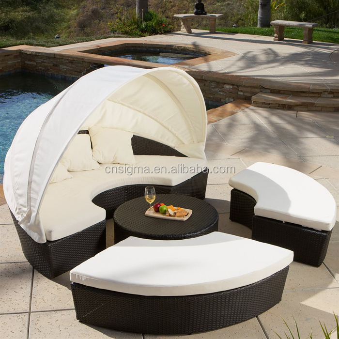 2015 antique canopy day bed rattan round outdoor lounge for Outdoor lounge bed with canopy
