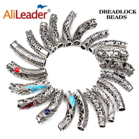 AliLeader 24 Styles Silvery Dreadlock Hair Beads For Braids Tibetan Silver Hair Cuff