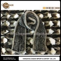 2016 Classic Genuine Knitted Mink Fur Muffler For Women Autumn Winter Accessories