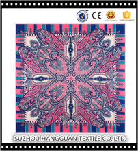 100% Silk New Design Square Scarf Print Customized Twill Scarves Factory