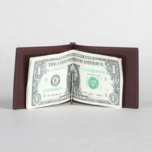 Top grain Italian vegetable tanned leather Money Clip / manufacturer of fine leather goods with luxury gift package
