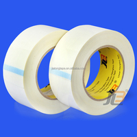 JLT 607A clean removal milk white fiberglass reinforced polyester adhesive tape for packaging, bundling and strapping