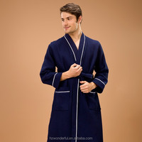 classic style nevy blue kimono waffle pajamas comfortable wear at summer