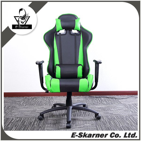 E-Skarner fanshion pu leather reclining green cyber racing game chair
