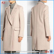 2015 China Women Clothes Luxuriously Soft Light Pink Wool-Blend Women's Coat With Cashmere