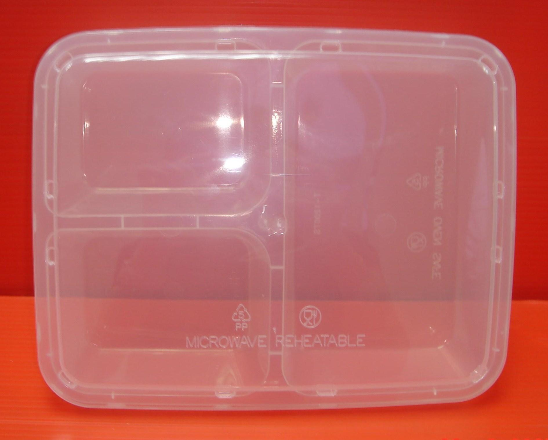 1200ml 3-Compartment Rectangular Container