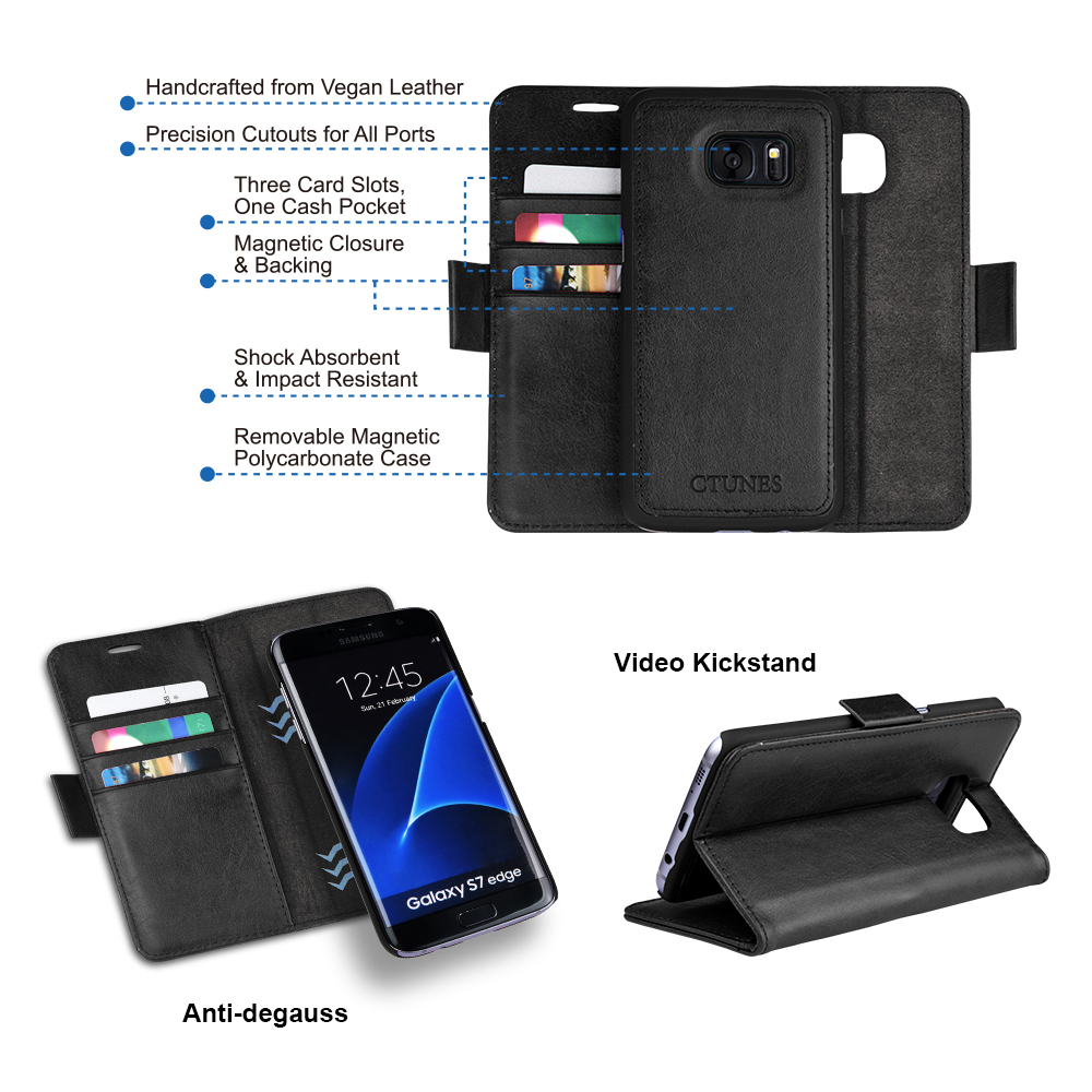 C&T 2 in 1 Premium Leather Detachable Magnetic Card Solt Holder Phone Cover Case For Samsung Galaxy S7 edge