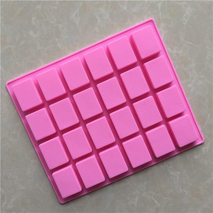 24 cavité rectangulaire silicone moule à la main savon gâteau au