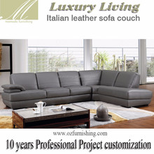 DZ208-1 special modern Luxury living furniture Italy grey leather European style L shape sectional living room sofa set