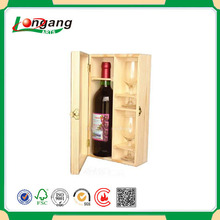 cheap and nice wooden boxes for wine and 2 glasses