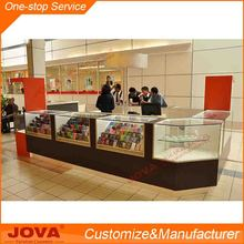 Modern free custom design glass store mobile cell phone display showcase counter table for shop