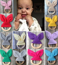 baby Teething Ring/Fabric And Wooden Teething Training Bunny Ear Crinkle Material Baby Solid Color Teether Bell