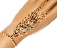 NEW WOMEN GOLD METAL HAND BODY CHAIN FASHION BRACELET ONE FINGER SLAVE RING LEAF