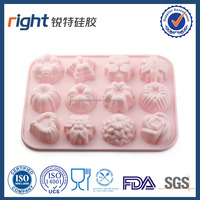 Hot Selling 100% Food Grade FDA/LFGB Function silicone 12 shape flowers cupcake mold