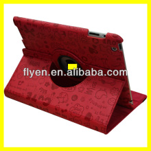 faerie pattern desgin 360 degree rotating case for ipad 4 ipad 3 ipad 2 leather material smart red cover with magnetic