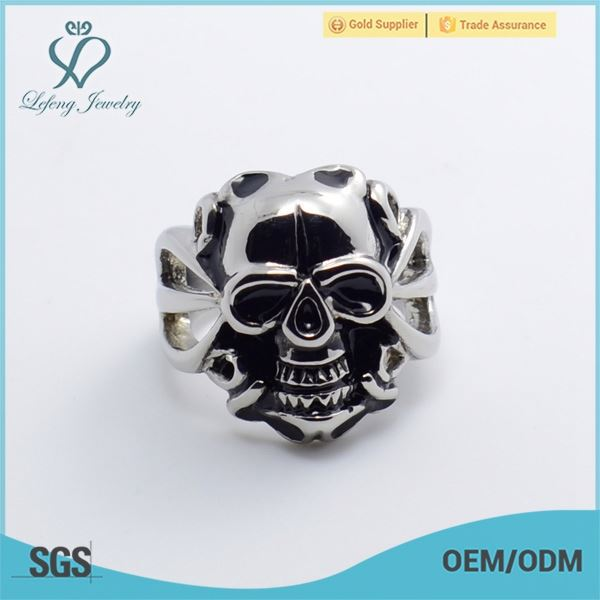 novelty skull ring,stainless steel c ring,stainless steel rings with enamel