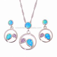 Wedding Bridal Jewelry Sets Sky Blue Opal White Zircon Silver Color Leaf Bracelets/Pendant/Necklace Chain/Earrings/Rings