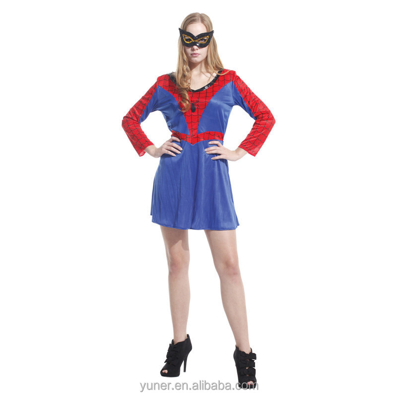 Party bar supplies Adult female spiderman dress Halloween Costume
