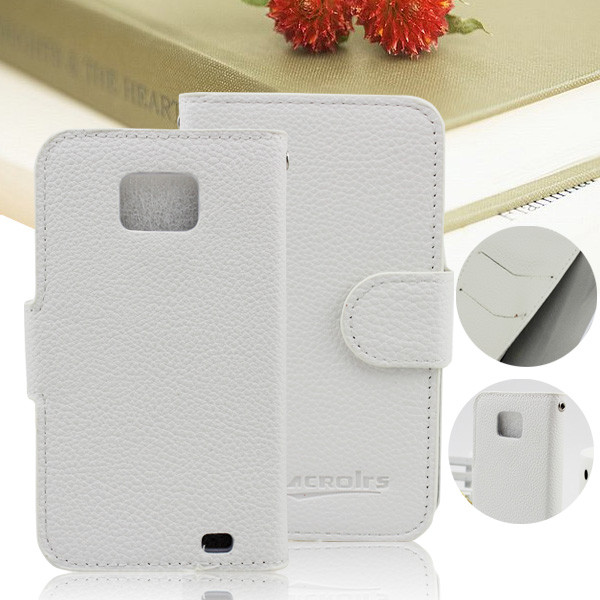 Flip leather book phone cover case for samsung galaxy s2 i9100