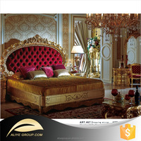 ART467- Luxury Royal French Baroque Rococo Style King Queen Size red bed furniture