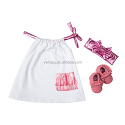 Pillowcase Dress Set.Including Top , Headband And Shoes.Tassel Element