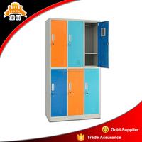 Multi-purpose 6 door wardrobe colorful door 3 wide 2 tier metal locker 6 door steel wardrobe design