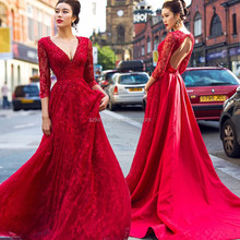 2018 Long Sleeve Deep V Neck Lace Red Prom Dresses A Line Applique Beaded Prom Gowns China