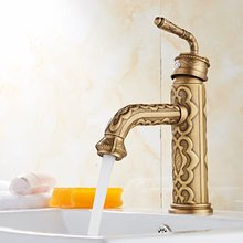 Newly Antique Brass Basin Mixer Tap Artistic Bathroom Faucet
