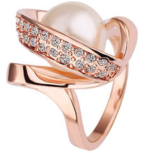 Womens 18K Rose Gold Plated Fashion Cubic Zirconia Pearl Bead Love Promise Ring Wedding Band
