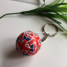 Colorful lovely PVC sports football/soccer key ring/key chain, England/uk football keychain