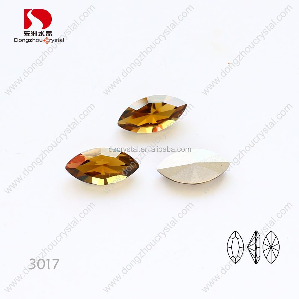 Top quality amber crystal k9 material horse eye cut point back loose rhinestone beads fashion accessories factory wholesale