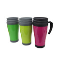 High Quality plastic double wall drink cup thermos mug cup with removable handle