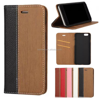 Wood pattern flip PU leather phone case cover with card slot for Samsung S4 5 6 7 8 bulk buy from China