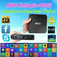 Quad Core Android 4.4 Tv Box M8S S812 Support Bluetooth 4.0, 4K*2K, Xbmc, 2G+8G Android 4.4 In Stock!