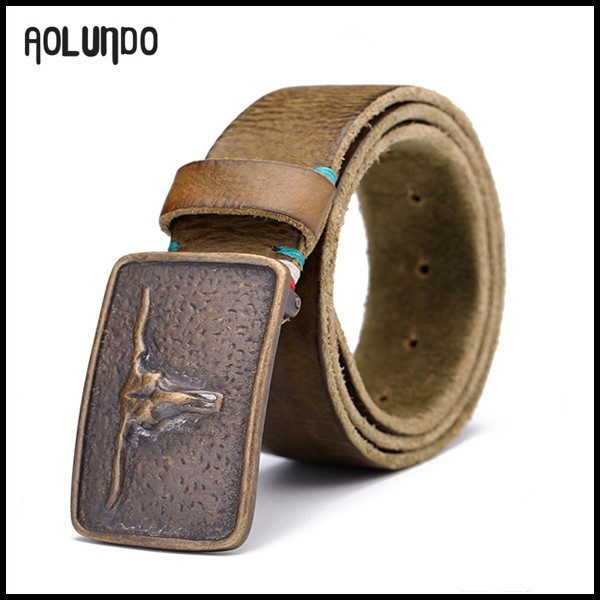 New customized Italy genuine leather copper buckle belt for men