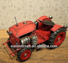 Hand carved red antique resin tractor model