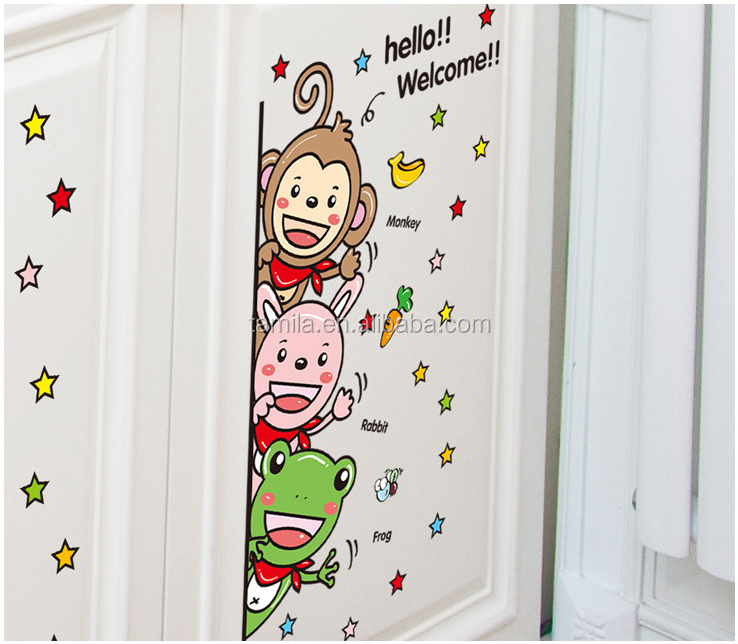 Cartoon Monkey frog Wall Sticker Baby Room Children Bedroom study room Wall Stickers Home Decor Wall Art Sticker