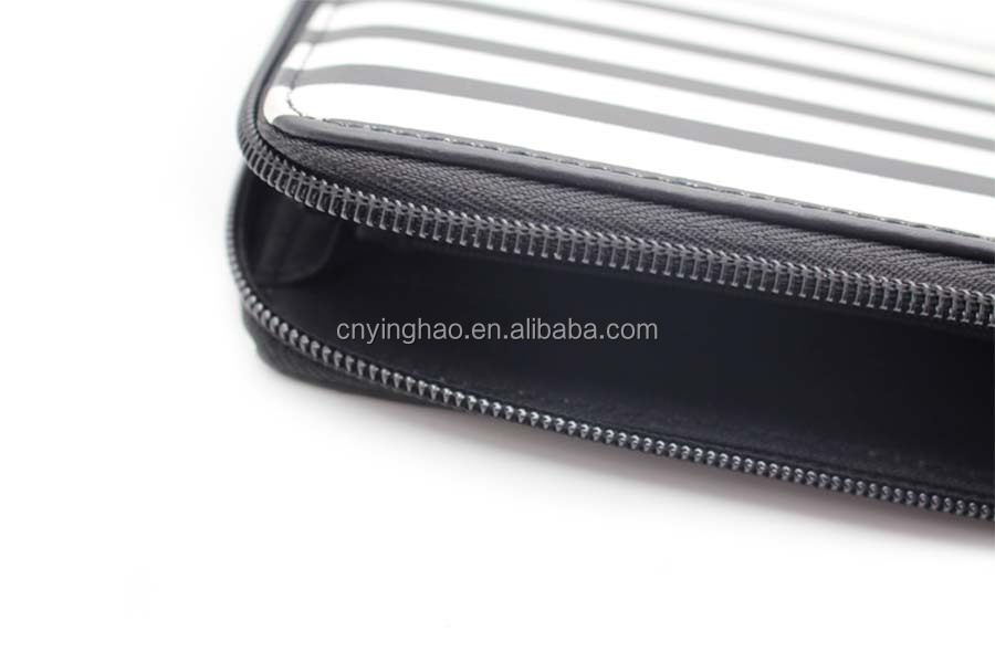 PU Material Classic Tassel Women Wallet with black and white stripe