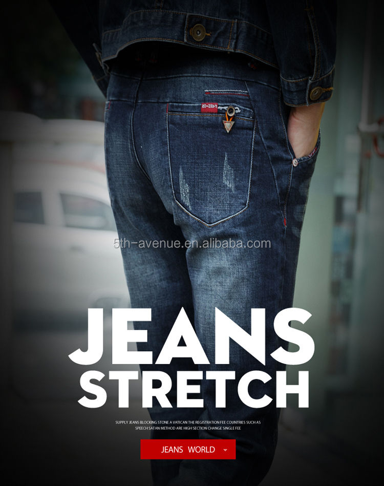 jean pant wash with stone men's blue ripped jeans men
