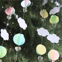 Baby Shower Decor Photo Prop Pastel 3D Paper Hot Air Balloons Garland