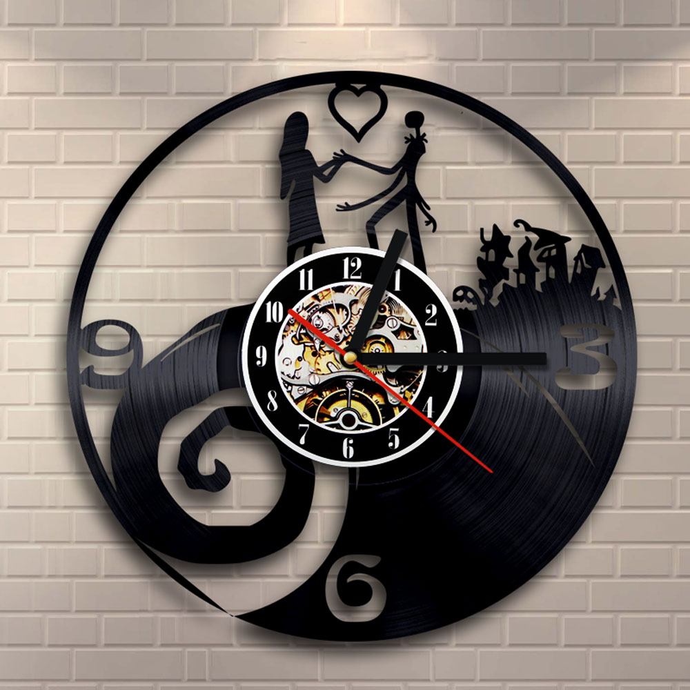 Nightmare Before Christmas Vinyl Record Clock Jack and Sally Unique Handmade Hanging Art Timepiece Decorative Wall Clock