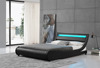 Stunning curve shape black leather bed with LED headboard