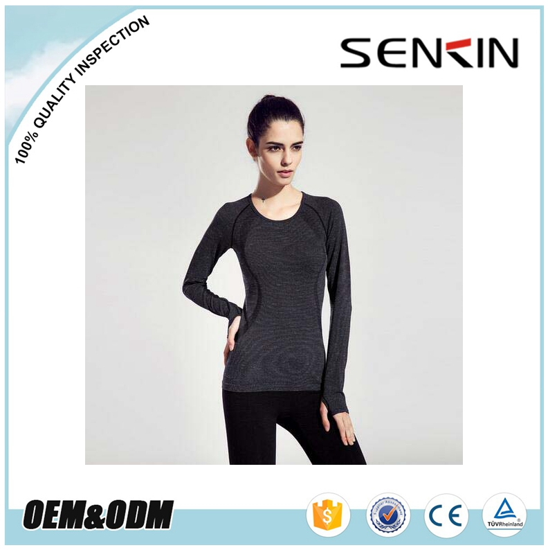Custom Made Women Black Tight Fit Scoop Neck Long Sleeve T Shirt for Fitness Gym Wear