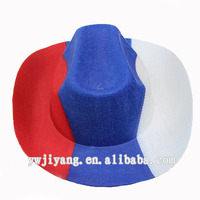 Cheap Party Red Blue White Felt Cowboy Hat In Yiwu