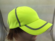 Neon Green Dry Fit Mesh Running Hat Caps with Reflective Stripe for Tennis Fans