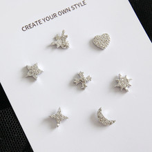 Free collocation 925 sterling silver 7 style Single stud earrings
