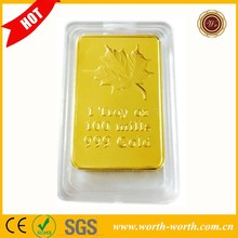 China fabricante canadiense maple leaf una onza troy fine replica lingotes <span class=keywords><strong>de</strong></span> <span class=keywords><strong>oro</strong></span>, Pure gold clad bullion bares
