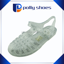 hot selling peep toe flat jelly shoes for lady 2014