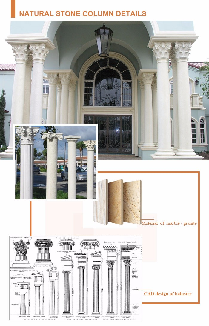 Private Residence pillar design Natural Stone Marble Columns For sale